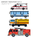Olik flygplatstransport som isoleras på vit Arkivfoto
