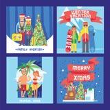Olik folkfamilj- och vänjul övervintrar semesterferier Lyckligt familjlopp och firaXmas stock illustrationer