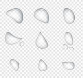 Olik form av den realistiska vattendroppvektorn på stordiabakgrund Yttersida för kondensation för exponeringsglasbubbladroppe, stock illustrationer