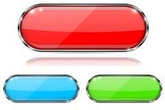 olik glass god kvalitet för knappfärger Den röda, gröna och blåa ovalen 3d knäppas med metallramen Med reflexion på vit bakgrund royaltyfri illustrationer