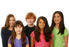 Olik grupp av pojkar och flickor arkivfoton