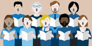 Olik grupp av vuxna körsångare royaltyfri illustrationer