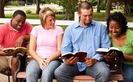 Olik grupp människor som talar och läser Arkivbilder