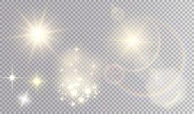 Olik gul uppsättning för ljusa effekter stock illustrationer
