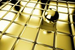 Olik guld- boll som står ut i folkmassa av kuber Royaltyfri Fotografi