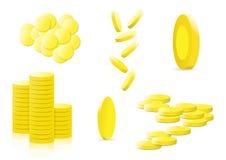 Olik guld- myntpengarillustration Arkivbilder