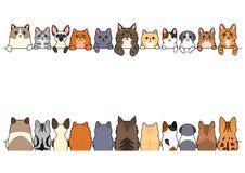 Olik gullig kattgränsuppsättning royaltyfri illustrationer