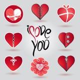 Olik hjärtasymbolsuppsättning för valentin dag Arkivfoto