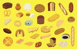 Olik illustration för vektor för tecknad film för brödtypuppsättning vektor illustrationer