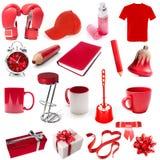 Olik isolerad röd färg för objekt arkivfoton