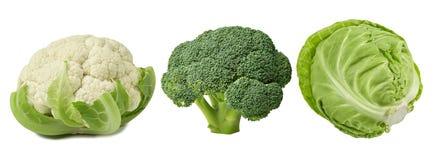 Olik kål - broccoli, vit och blomkål royaltyfri fotografi