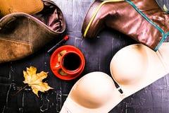 Olik kläder och tillbehör för kvinna` s i ljus guling- och blåttbakgrund Lekmanna- mode för lägenhet, begrepp Arkivfoto