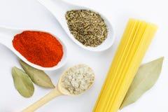Olik kryddor och spagetti Arkivfoto