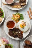 Olik malaysian bästa sikt för ris och för disk arkivfoto