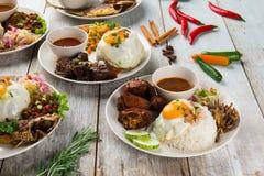 Olik malaysian ris och disk arkivbilder