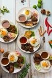 Olik malaysian ris och disk royaltyfri fotografi
