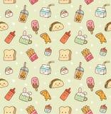 Olik mat och att dricka s?ml?s bakgrund i kawaiistilvektor royaltyfri illustrationer