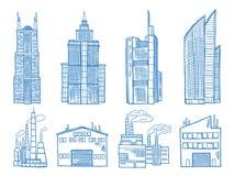 Olik modern byggnad med den drog illustrationen för kontor, för bransch och för fabrikshand stock illustrationer