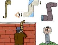 Olik periskop som spionerar tecknade filmer Royaltyfria Foton