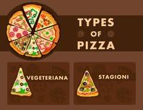 Olik pizza skriver affischtecknad filmmallen royaltyfri illustrationer