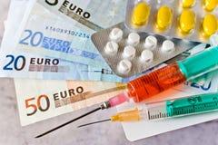 Olik preventivpillerar och injektionsspruta med europengar - sjukvårdkostnad Arkivfoton