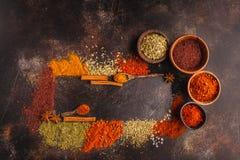 Olik sort av kryddor på mörk bakgrund arkivbilder