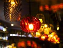 Olik sort av ljus garnering i stången Royaltyfri Fotografi