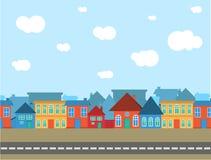 Olik stil för vektorby med blå himmel stock illustrationer