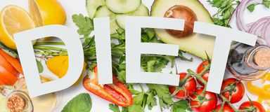 Olik sund grönsakingredienser och text bantar, den bästa sikten Den rena ätaorienteringen, vegetarisk mat och bantar näring Royaltyfri Fotografi