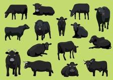 Olik svart illustration för vektor för kotjurtecknad film royaltyfri illustrationer