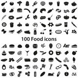 100 olik svart symbolsuppsättning för mat och för drink Royaltyfria Bilder