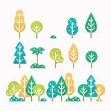 Olik träd och buskeuppsättning Arkivfoto