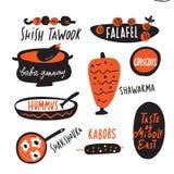 Olik traditionell mitt - östlig mat Illustration och bokstäver för rolig hand som utdragen göras i vektor Menybeståndsdelar stock illustrationer