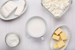 Olik typ av mejeriprodukter p? vit tr?bakgrund royaltyfri bild