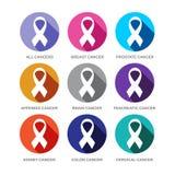 Olik uppsättning för symbol för cancerbandsymboler royaltyfri illustrationer