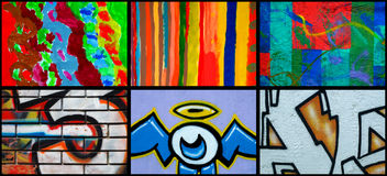 olik väggmålning för collage Arkivfoto
