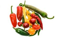 Olik variation av varma peppar eller chilies som isoleras på vit Arkivbilder