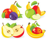 Olik vektorsamling för nya frukter Royaltyfri Fotografi