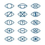 Olika ögonsymboler, uppsättning av vektorögonpictograms Vektor Illustrationer