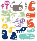 olika abstrakt varelser stock illustrationer