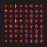 Olika abstrakta röda vektorsnöflingor vektor illustrationer