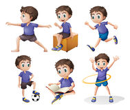 Olika aktiviteter av en ung pojke Arkivfoto
