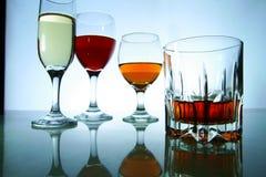 Olika alkoholdrycker i exponeringsglas och bägare Royaltyfri Bild