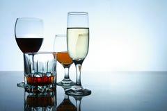 Olika alkoholdrycker i exponeringsglas och bägare Arkivfoton