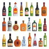 Olika alkoholdrycker i flaskor Arkivfoton
