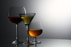 Olika alkoholiserada drycker Arkivbild