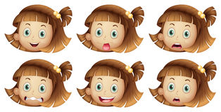 Olika ansiktsuttryck av en flicka royaltyfri illustrationer