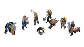 Olika arbetare med deras hjälpmedel - som isoleras på vit bakgrund royaltyfri illustrationer