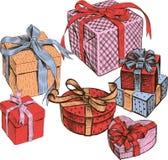 Olika askar med gåvor Alla objekt isoleras Royaltyfria Bilder