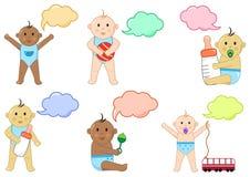 Olika barn med leksaker och dialogasken, illustration royaltyfri illustrationer